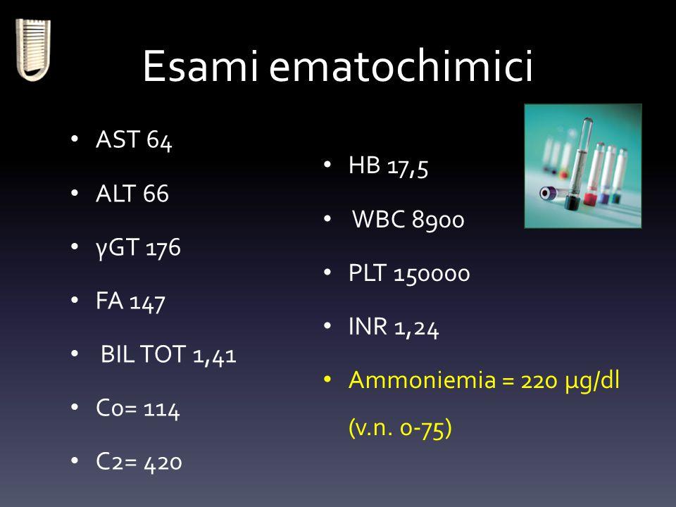 Esami ematochimici AST 64 ALT 66 HB 17,5 WBC 8900 γGT 176 PLT 150000