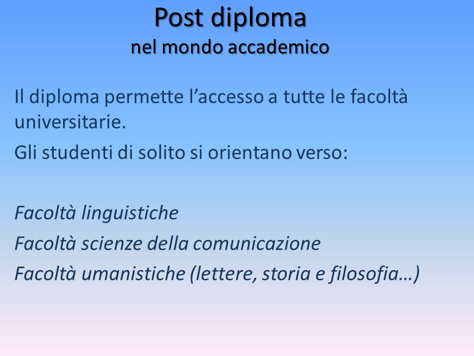 Post diploma nel mondo accademico