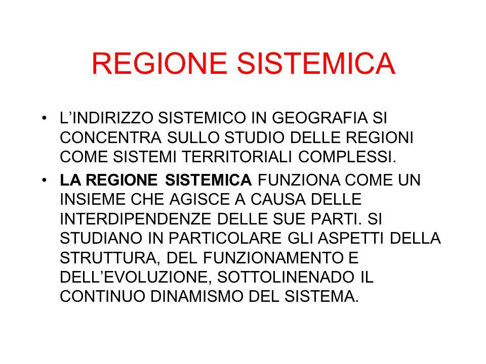 REGIONE SISTEMICA L'INDIRIZZO SISTEMICO IN GEOGRAFIA SI CONCENTRA SULLO STUDIO DELLE REGIONI COME SISTEMI TERRITORIALI COMPLESSI.
