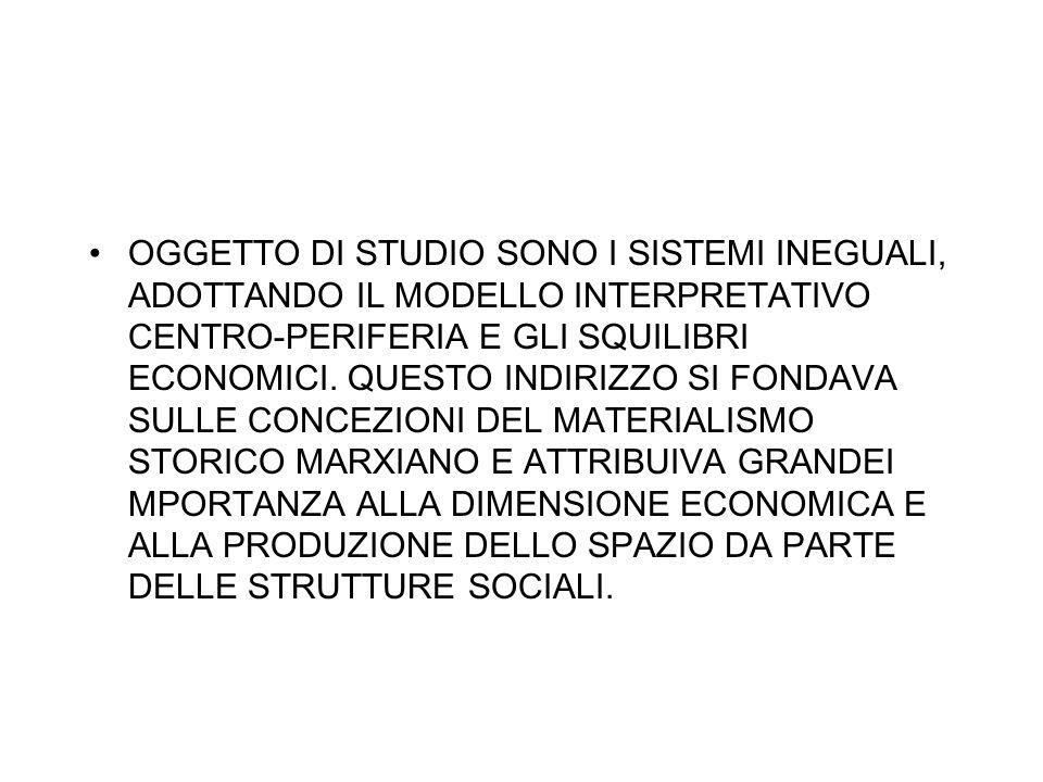 OGGETTO DI STUDIO SONO I SISTEMI INEGUALI, ADOTTANDO IL MODELLO INTERPRETATIVO CENTRO-PERIFERIA E GLI SQUILIBRI ECONOMICI.