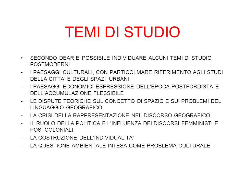 TEMI DI STUDIO SECONDO DEAR E' POSSIBILE INDIVIDUARE ALCUNI TEMI DI STUDIO POSTMODERNI.