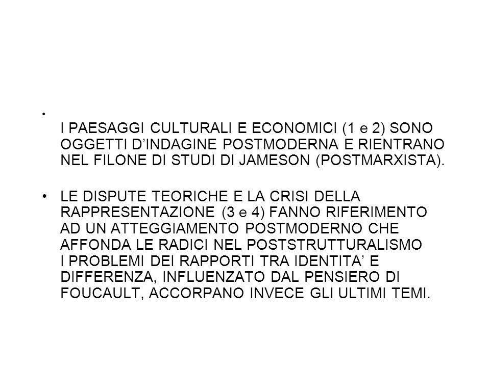 I PAESAGGI CULTURALI E ECONOMICI (1 e 2) SONO OGGETTI D'INDAGINE POSTMODERNA E RIENTRANO NEL FILONE DI STUDI DI JAMESON (POSTMARXISTA).
