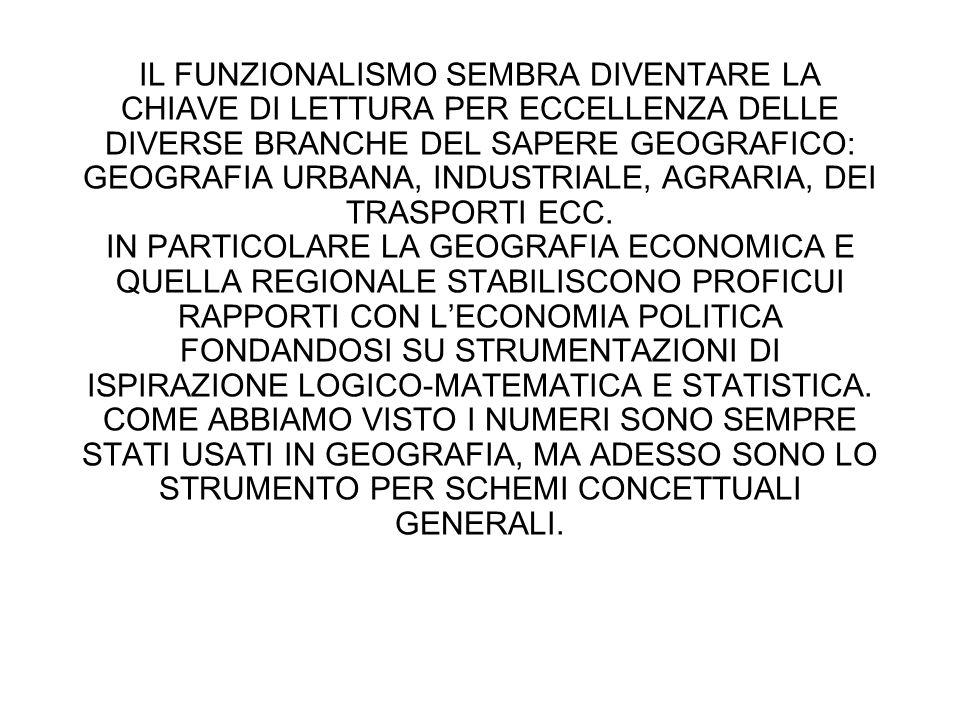 IL FUNZIONALISMO SEMBRA DIVENTARE LA CHIAVE DI LETTURA PER ECCELLENZA DELLE DIVERSE BRANCHE DEL SAPERE GEOGRAFICO: GEOGRAFIA URBANA, INDUSTRIALE, AGRARIA, DEI TRASPORTI ECC.