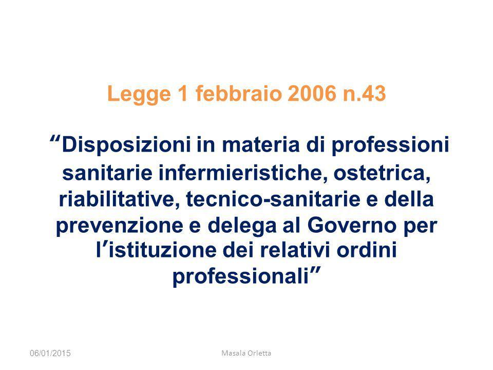 Legge 1 febbraio 2006 n.43 Disposizioni in materia di professioni sanitarie infermieristiche, ostetrica, riabilitative, tecnico-sanitarie e della prevenzione e delega al Governo per l'istituzione dei relativi ordini professionali