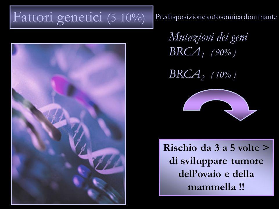Fattori genetici (5-10%) Mutazioni dei geni BRCA1 ( 90% )