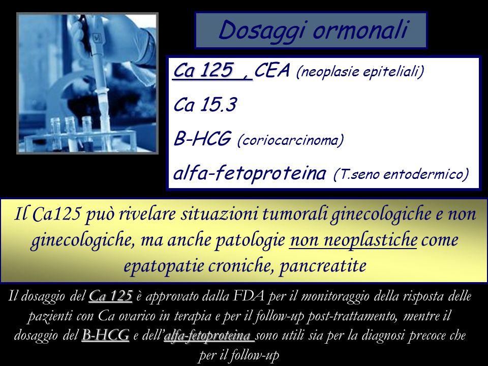 Dosaggi ormonali Ca 125 , CEA (neoplasie epiteliali) Ca 15.3. B-HCG (coriocarcinoma) alfa-fetoproteina (T.seno entodermico)