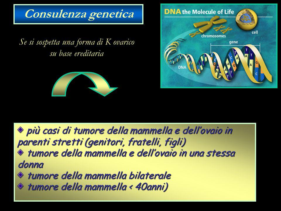 Se si sospetta una forma di K ovarico su base ereditaria