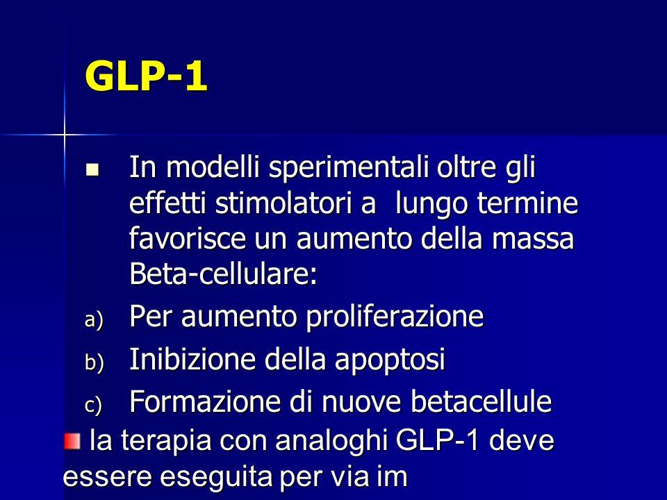 GLP-1 In modelli sperimentali oltre gli effetti stimolatori a lungo termine favorisce un aumento della massa Beta-cellulare: