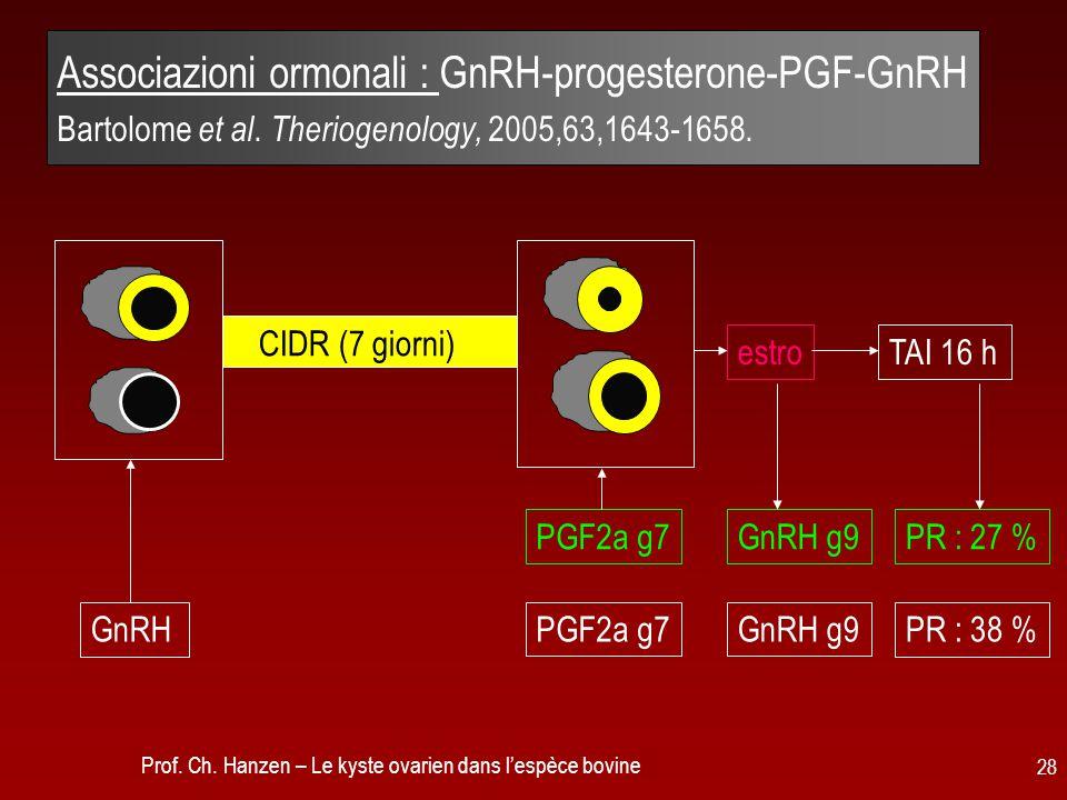Associazioni ormonali : GnRH-progesterone-PGF-GnRH Bartolome et al