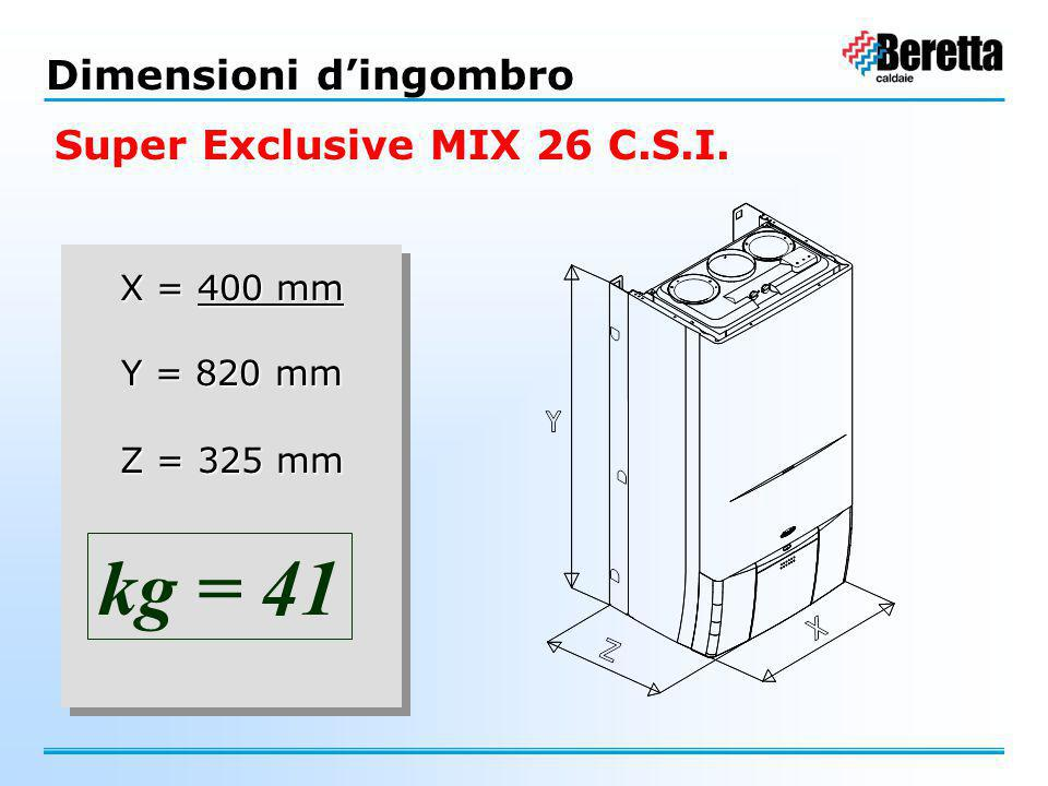 kg = 41 Dimensioni d'ingombro Super Exclusive MIX 26 C.S.I. X = 400 mm