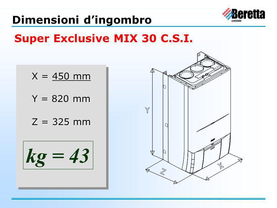 kg = 43 Dimensioni d'ingombro Super Exclusive MIX 30 C.S.I. X = 450 mm