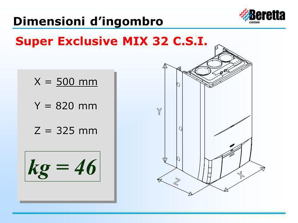 kg = 46 Dimensioni d'ingombro Super Exclusive MIX 32 C.S.I. X = 500 mm