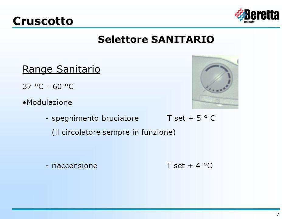 Cruscotto Selettore SANITARIO Range Sanitario 37 °C  60 °C