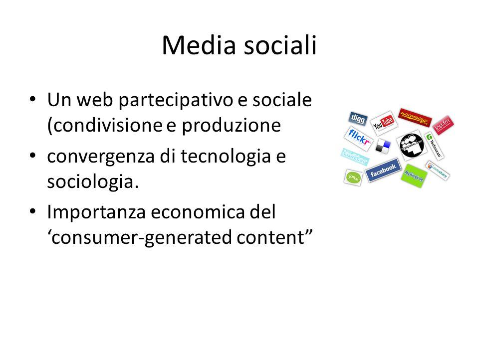 Media sociali Un web partecipativo e sociale (condivisione e produzione. convergenza di tecnologia e sociologia.