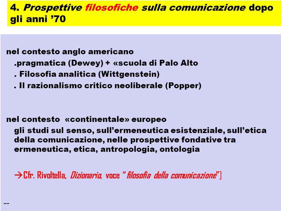 4. Prospettive filosofiche sulla comunicazione dopo gli anni '70