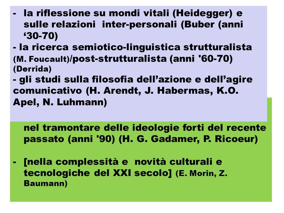 la riflessione su mondi vitali (Heidegger) e sulle relazioni inter-personali (Buber (anni '30‑70)