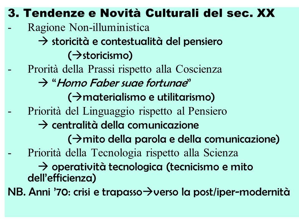 3. Tendenze e Novità Culturali del sec. XX