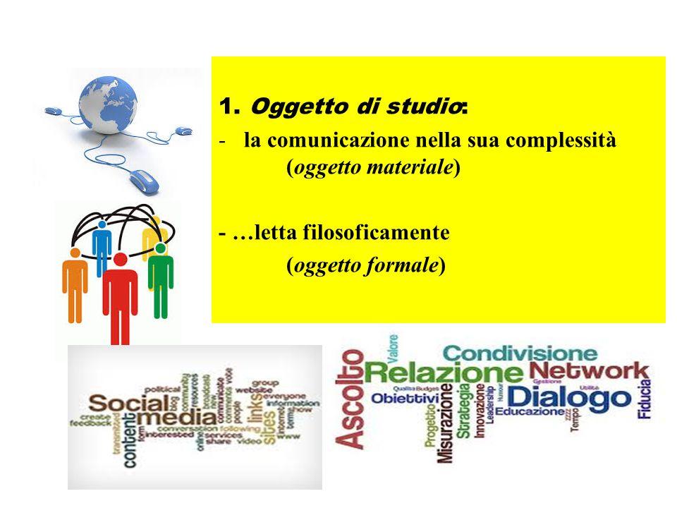 1. Oggetto di studio: la comunicazione nella sua complessità (oggetto materiale)