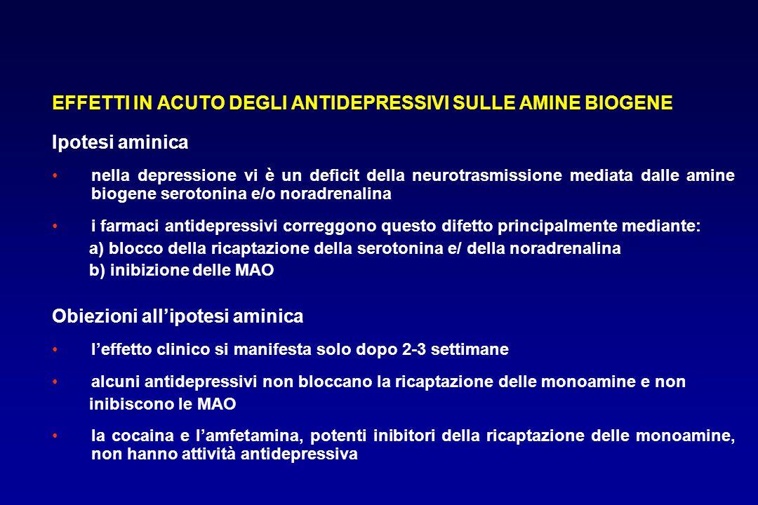 EFFETTI IN ACUTO DEGLI ANTIDEPRESSIVI SULLE AMINE BIOGENE