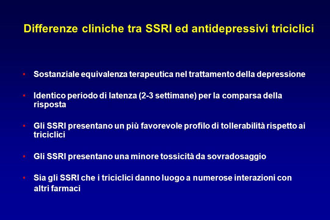 Differenze cliniche tra SSRI ed antidepressivi triciclici