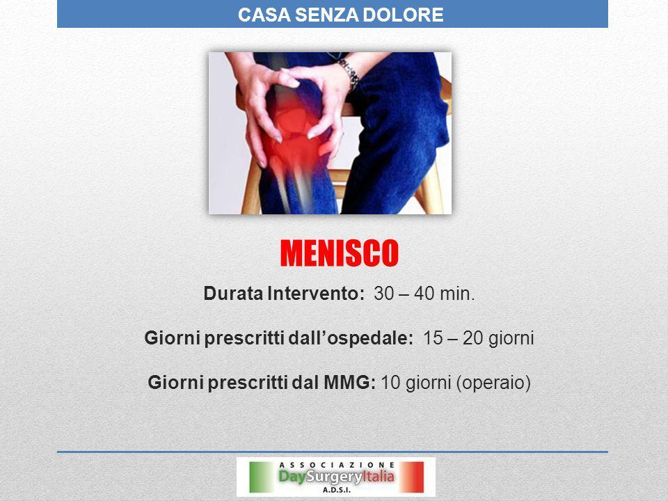 MENISCO CASA SENZA DOLORE Durata Intervento: 30 – 40 min.