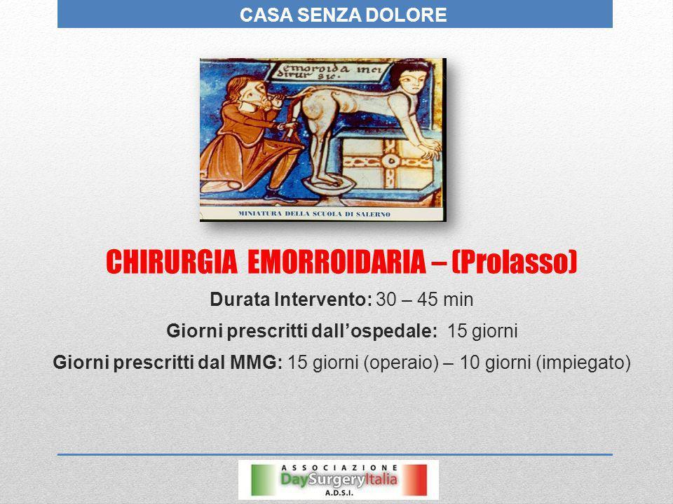 CHIRURGIA EMORROIDARIA – (Prolasso)