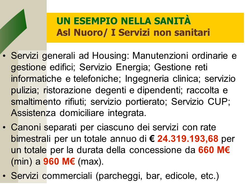 UN ESEMPIO NELLA SANITÀ Asl Nuoro/ I Servizi non sanitari