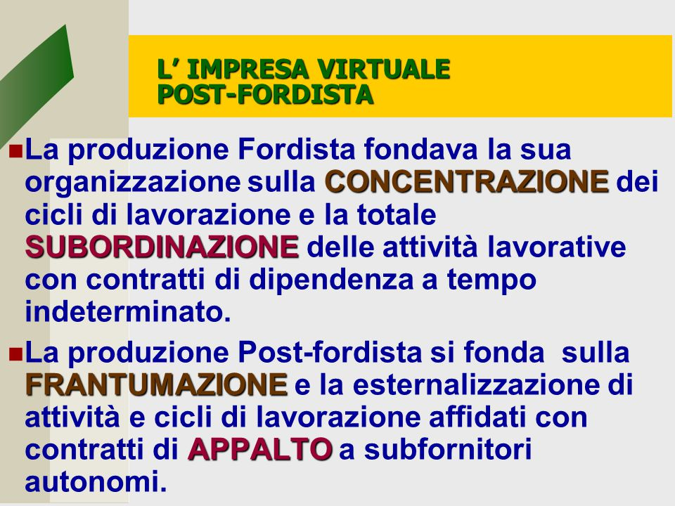 L' IMPRESA VIRTUALE POST-FORDISTA
