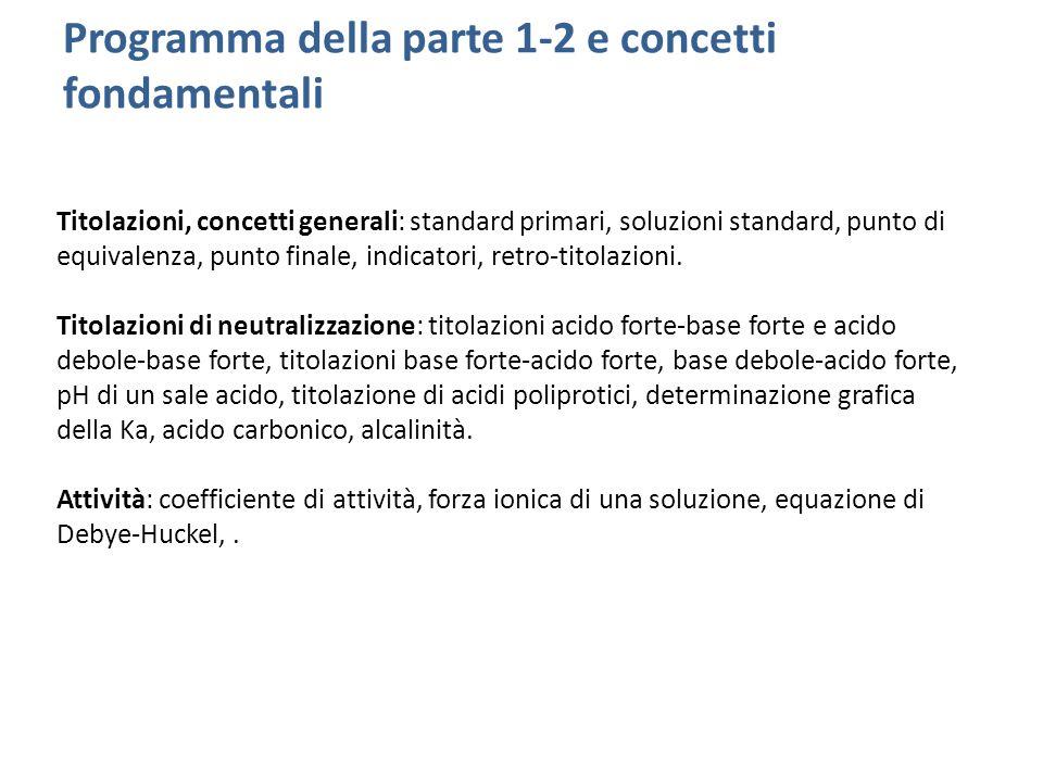 Programma della parte 1-2 e concetti fondamentali