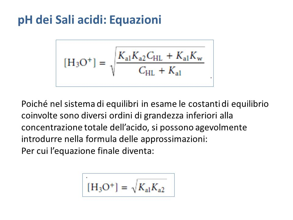 pH dei Sali acidi: Equazioni