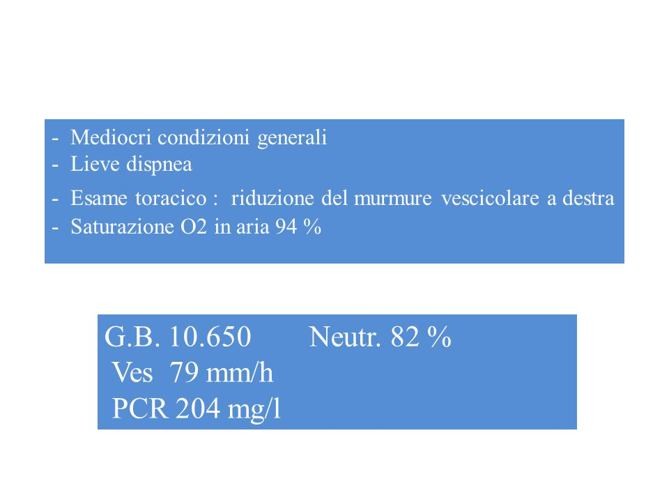 G.B. 10.650 Neutr. 82 % Ves 79 mm/h PCR 204 mg/l
