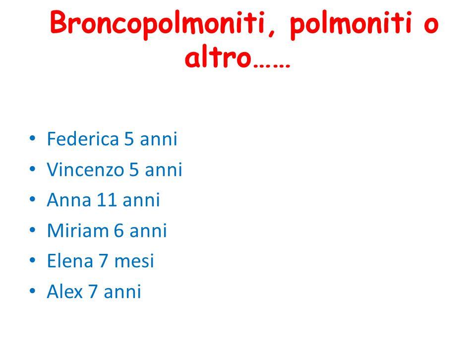 Broncopolmoniti, polmoniti o altro……