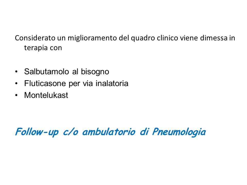 Follow-up c/o ambulatorio di Pneumologia