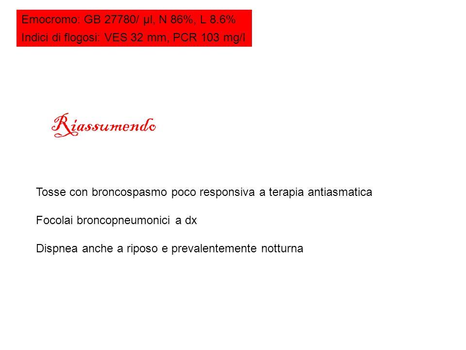 Riassumendo Emocromo: GB 27780/ μl, N 86%, L 8.6%
