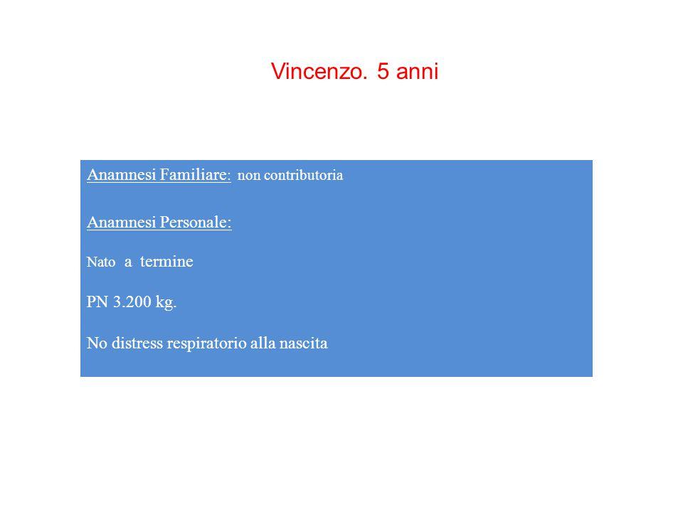 Vincenzo. 5 anni Anamnesi Familiare: non contributoria