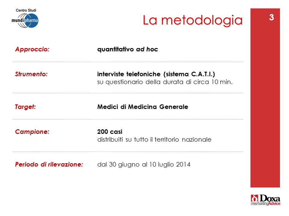 La metodologia 3 Approccio: quantitativo ad hoc