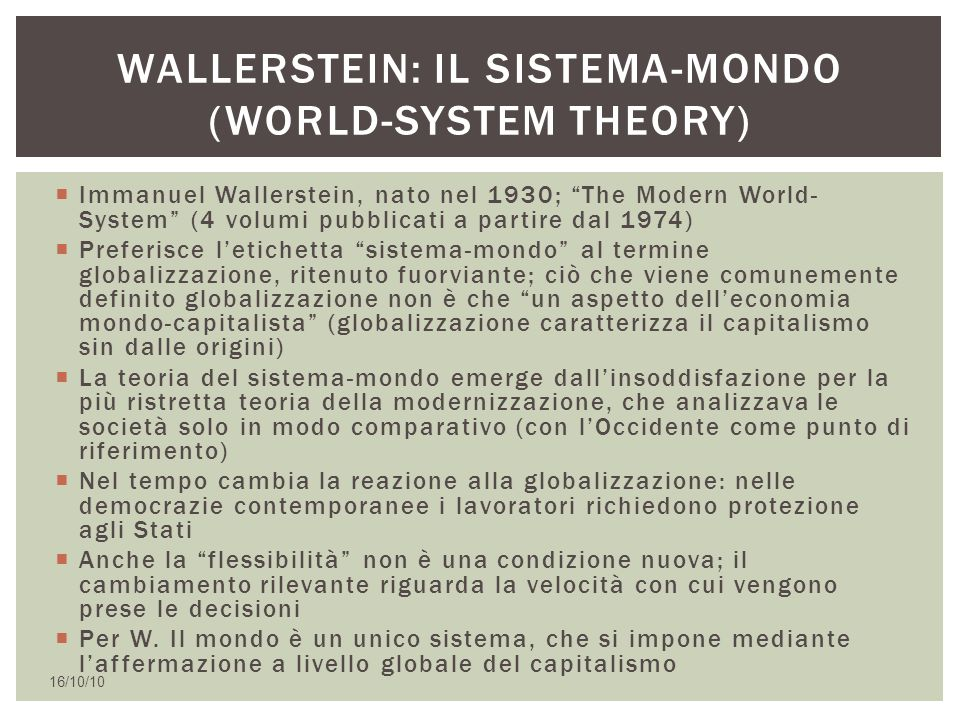 Wallerstein: il sistema-mondo (World-System theory)