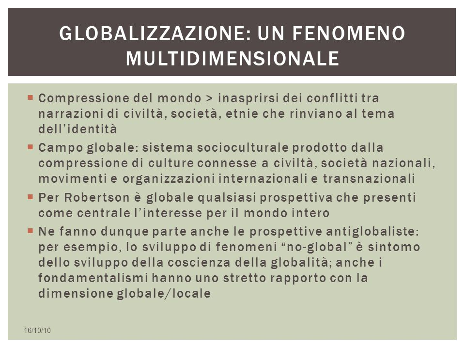 Globalizzazione: un fenomeno multidimensionale