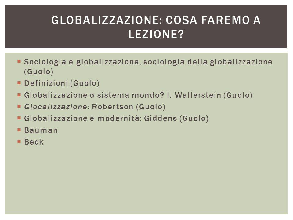 Globalizzazione: cosa faremo a lezione