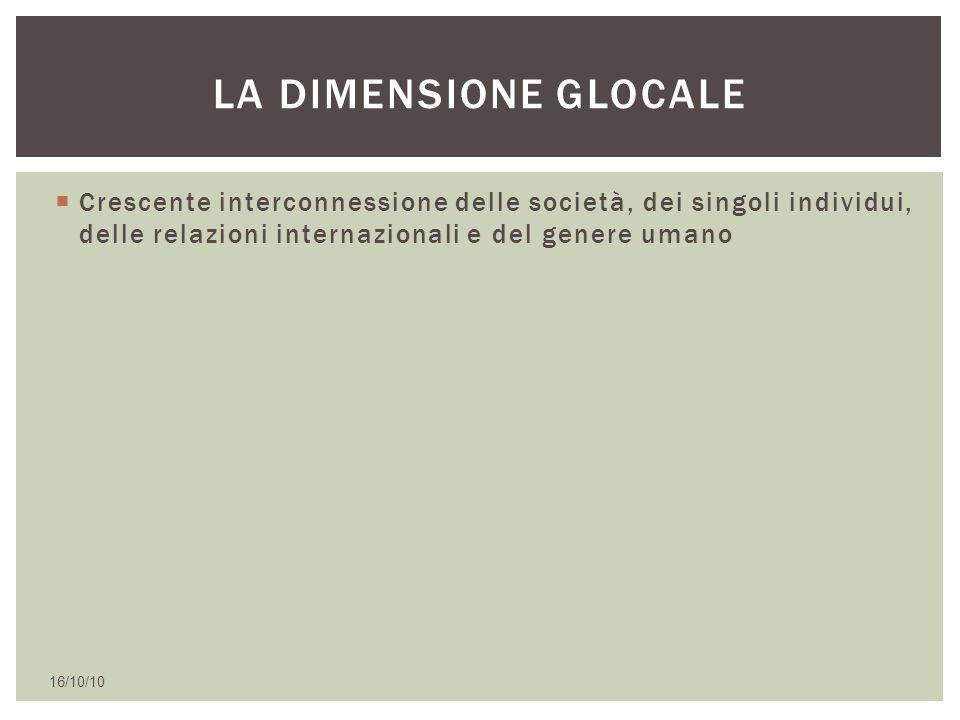 La dimensione glocale Crescente interconnessione delle società, dei singoli individui, delle relazioni internazionali e del genere umano.