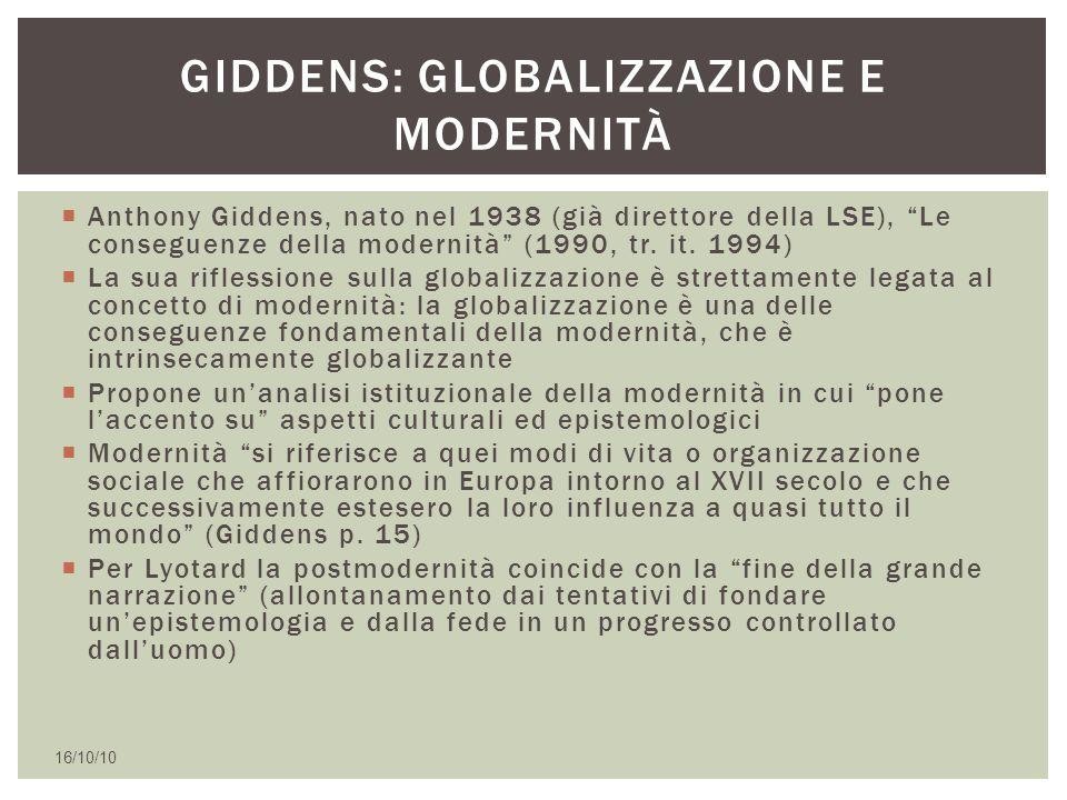 Giddens: globalizzazione e modernità