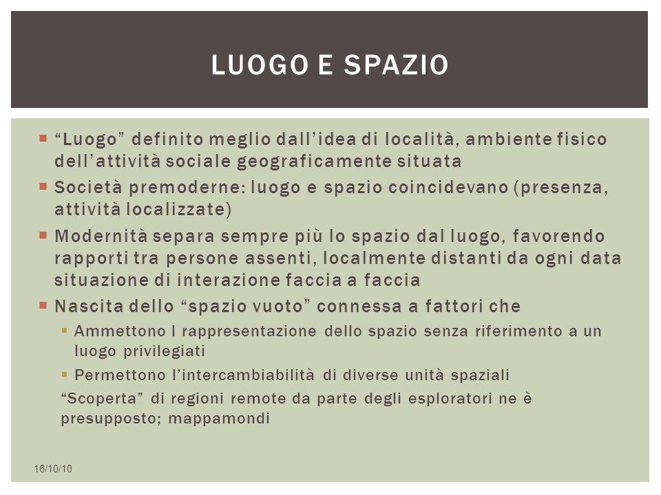 Luogo e spazio Luogo definito meglio dall'idea di località, ambiente fisico dell'attività sociale geograficamente situata.