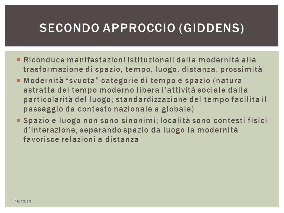 Secondo approccio (giddens)
