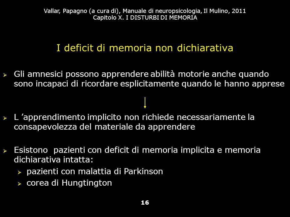 I deficit di memoria non dichiarativa