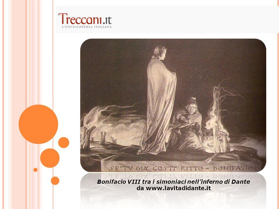 Bonifacio VIII tra i simoniaci nell'inferno di Dante