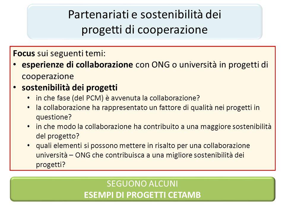 Partenariati e sostenibilità dei progetti di cooperazione