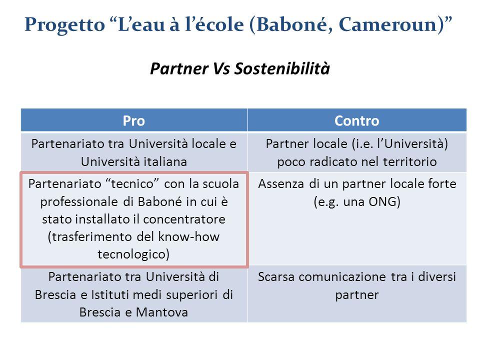 Progetto L'eau à l'école (Baboné, Cameroun) Partner Vs Sostenibilità