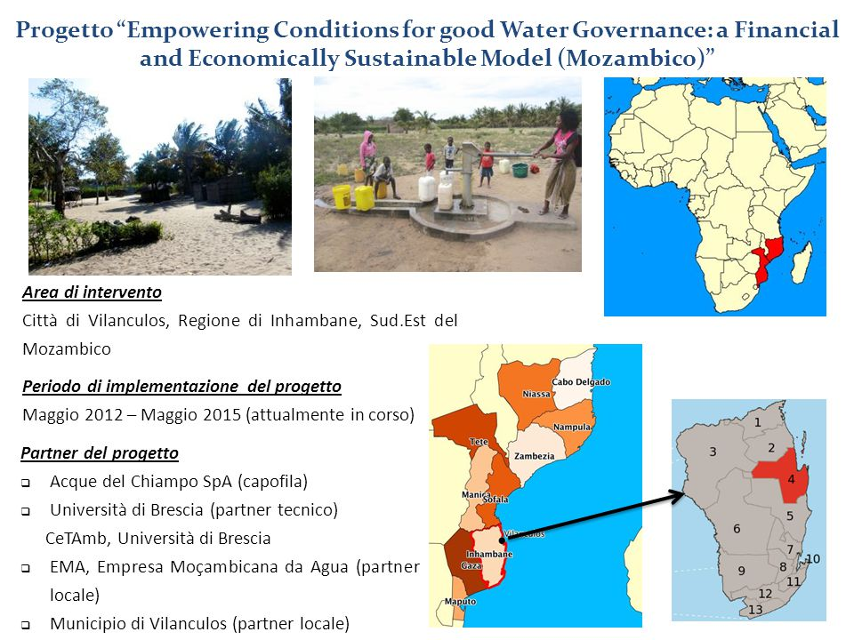 Progetto Empowering Conditions for good Water Governance: a Financial and Economically Sustainable Model (Mozambico)
