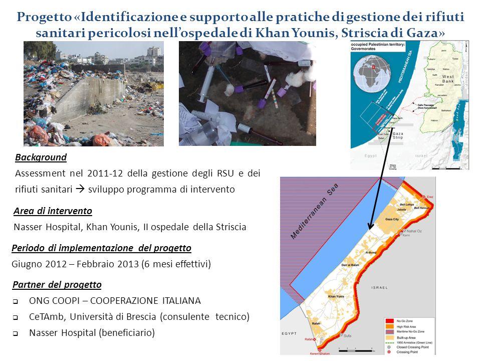 Progetto «Identificazione e supporto alle pratiche di gestione dei rifiuti sanitari pericolosi nell'ospedale di Khan Younis, Striscia di Gaza»