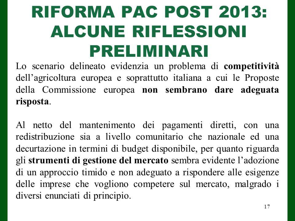 RIFORMA PAC POST 2013: ALCUNE RIFLESSIONI PRELIMINARI